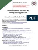 FMSO JRIC Canada News Briefs for Week of 14 November 2009