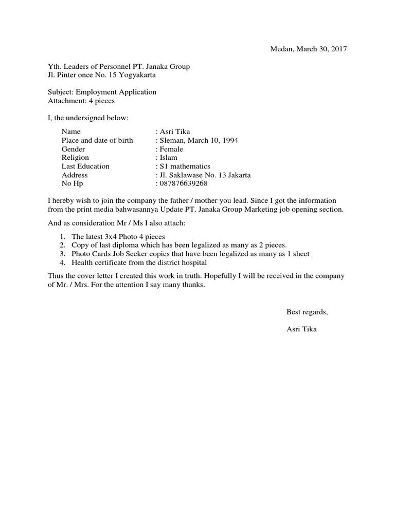 Cover Letter Surat Lamaran Kerja Bahasa Inggris - 100