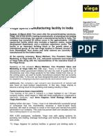 Pr Viega Opens Manufacturing Facility in India