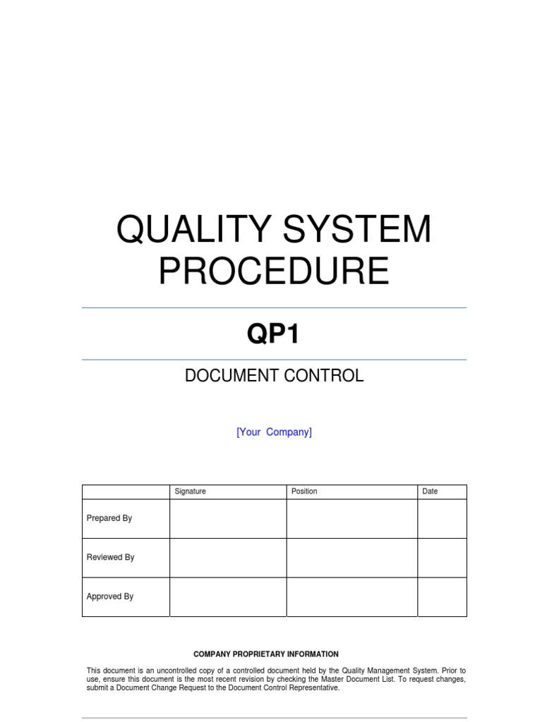 Document Control Procedure Example | Document | Specification ...