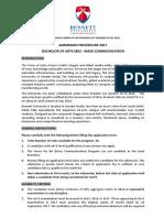 Admission Procedure BA MassCom NRI