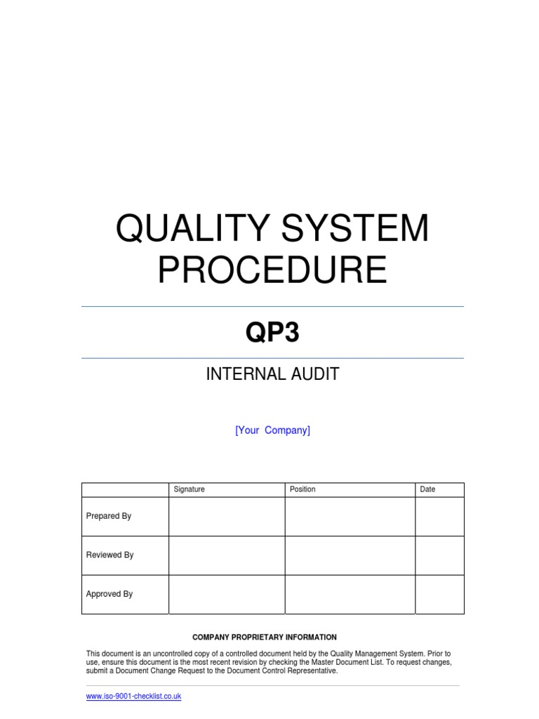 Internal Audit Procedure Example   Internal Audit   Audit