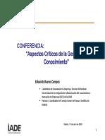 Aspectos Criticos de La Gestion Del Conocimiento. 2009