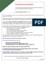TDI Claim Summary