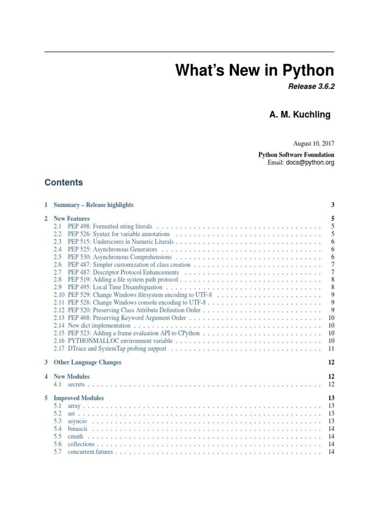 Whats New | Python (Programming Language) | Class (Computer