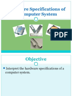 2.Hardware Specifications of a Computer System