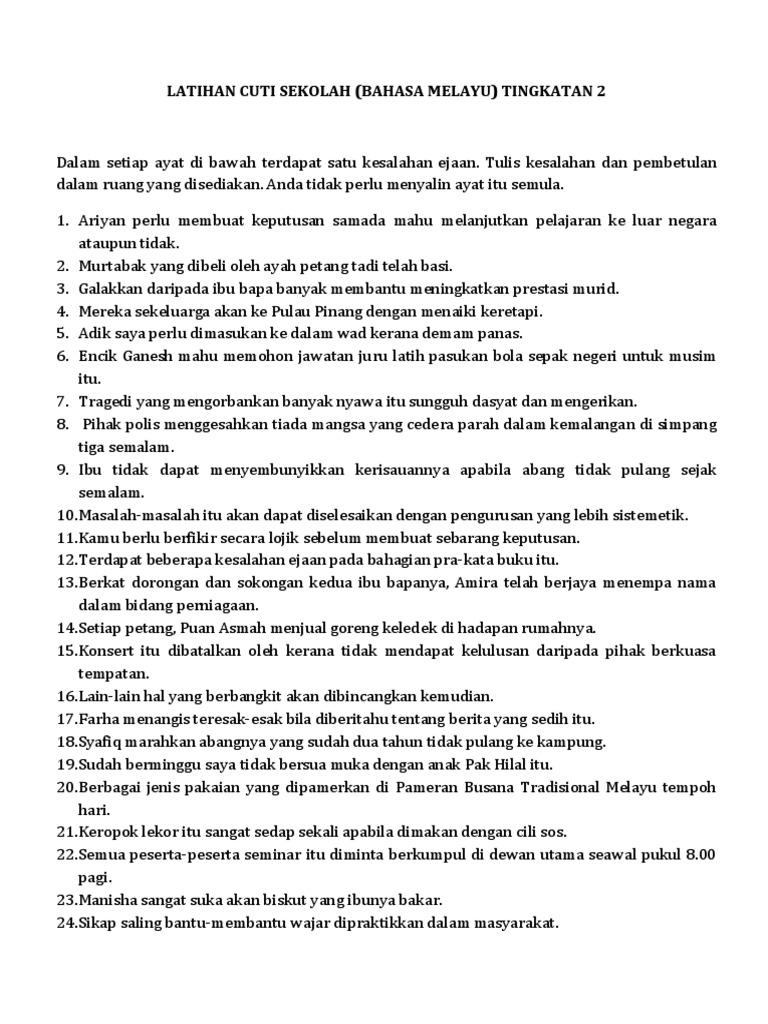 Latihan Cuti Sekolah Tatabahasa Bahasa Melayu Tingkatan 2