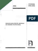 Norma Venezolana COVENIN 3558.2000  . Riesgos Biológicos. Medidas de Higiene Ocupacional