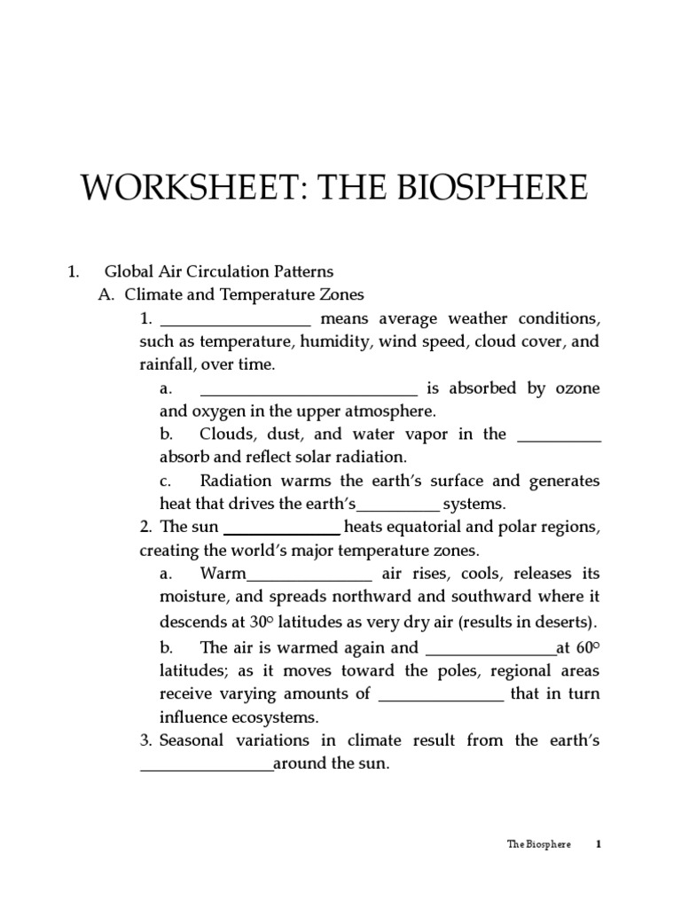 worksheet Biosphere Worksheet worksheet biosphere atmosphere of earth earth