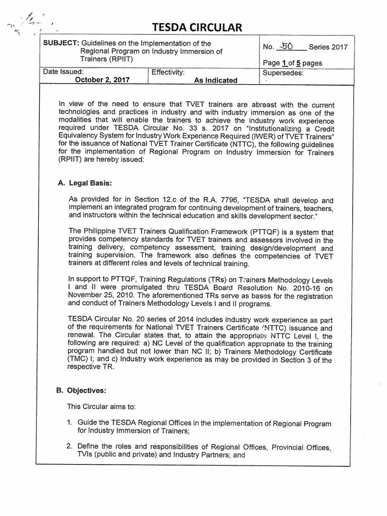 TESDA CIRCULAR 050-2017 pdf   Vocational Education