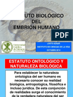 Estatuto Biologico Del Embrión Humano