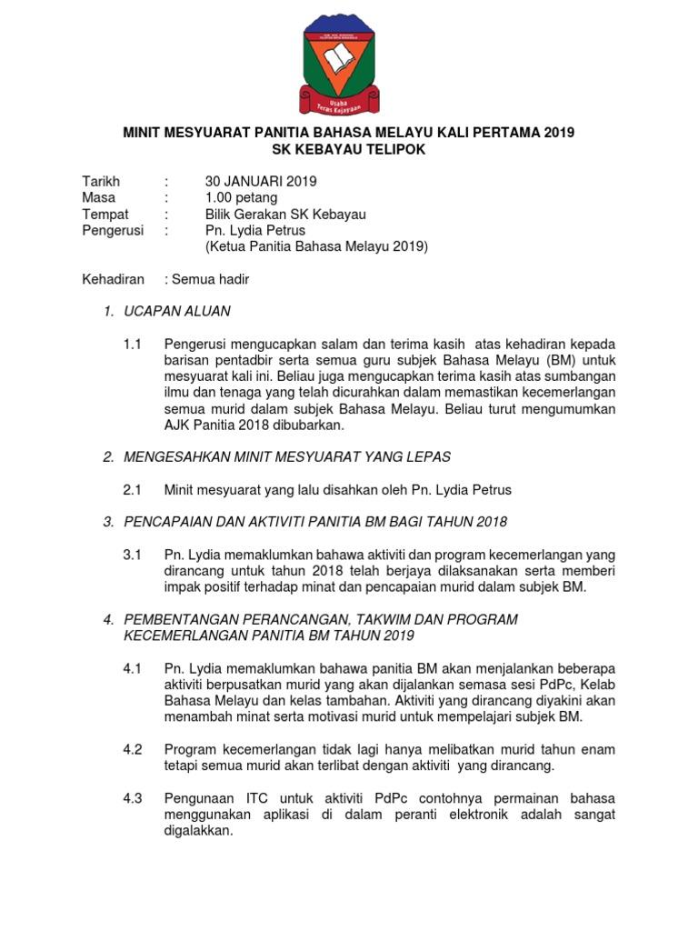 Minit Mesyuarat Panitia Bm Kali Pertama 2019 Docx