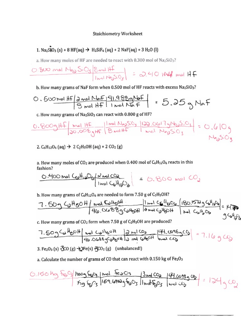 Nsc 130 Stoichiometry Worksheet Answers Pdf Physical Quantities Analytical Chemistry