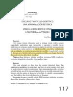 Redalyc.DISCURSO Y ARTÍCULO CIENTÍFICO. UNA APROXIMACIÓN RETÓRICA.pdf