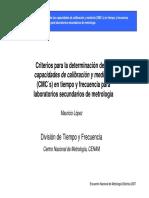 Criterios Para La Determinación de Las Capacidades de Calibración y Medición