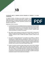 Idea DECLARACIÓN SOBRE LA INJERENCIA MILITAR EXTRANJERA EN VENEZUELA Y LA AYUDA HUMANITARIA