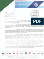 Nota de AFA a Presidencia de La Nación