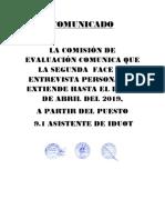 Provincia de jauja hace mención a todos los postulantes a los puestos de convocatoria 02-2019 reprogramacion