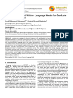 Workplace Oral and Written Language Need for Graduate Students