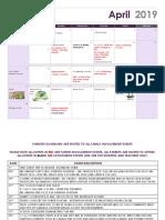 April Parent Calendar