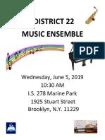 29295 District 22 Music Ensemble Flyer English