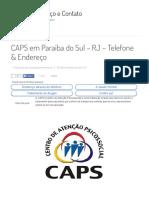 CAPS Em Paraíba Do Sul - RJ _ Telefone & Endereço _ Reabilitação