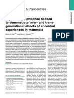 Experimental Evidence Neededto Demonstrate Inter- And Transgenerationaleffects of Ancestralexperiences in Mammals
