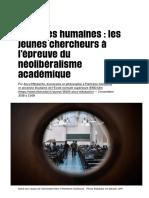 Sciences humaines_ les jeunes chercheurs à l'épreuve du néolibéralisme académique - Libération