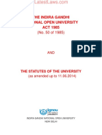 IGNOU Act & Statutes of the University
