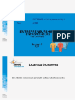 Session 1 Entrepreneurship and Entrepreneurs -The Overview