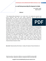 Microfinance and Entrepreneurship Development in Idia 1