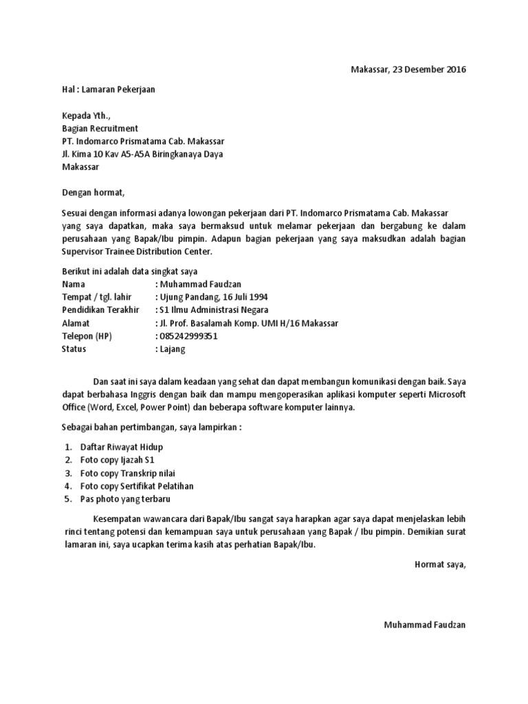 50 Contoh Surat Lamaran Kerja Indomaret Dalam Bahasa Inggris Berbagi Resep