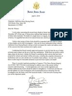 Sen. Dianne Feinstein's letter to the California Horse Racing Board