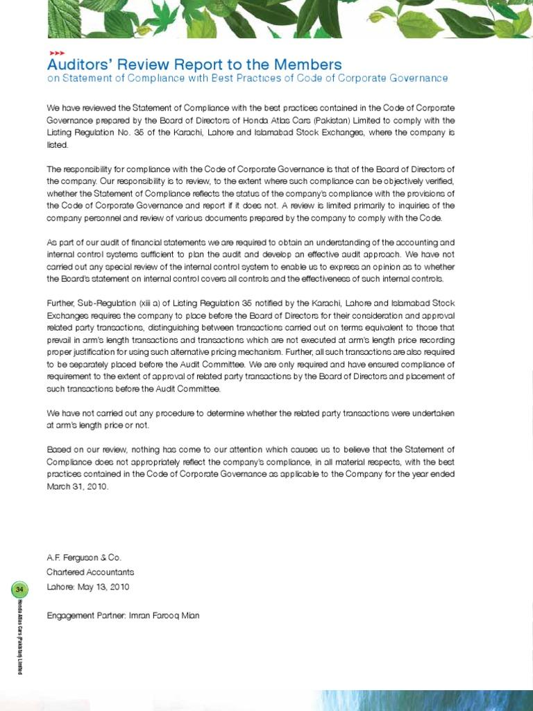 Auditors Report Audit Corporate Governance