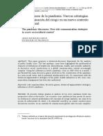 Los Discursos de La Pandemia. Nuevas Estrategias de Comunicación Del Riesgo en Un Nuevo Contexto Sociocultural