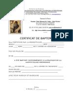 Certificat de Baptême Rouen