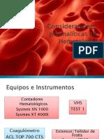 Consideraciones Preanalíticas en Hematología 2017