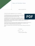 Carta de la Embajada de Estados Unidos