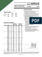 Kohler 60reozjb Spec Sheet