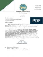 Rep. Rose letter to USC President