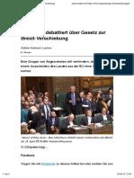 Parlament debattiert über Gesetz zur Brexit-Verschiebung