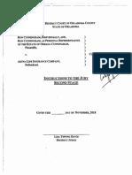 Cunningham v. Aetna  - Phase II JI's Given to Jury