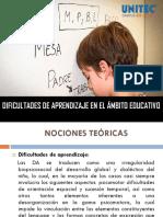 1. DIFICULTADES DE APRENDIZAJE EN EL ÁMBITO EDUCATIVO PPT