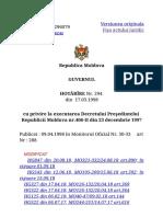 H 294 Cu Privire La Executarea Decretului Preşedintelui_Republicii Moldova Nr.406-II Din 23 Decembrie 1997_
