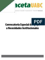 Edicion Especial Convocatoria Especial de Apoyo a Necesidades Institucionales