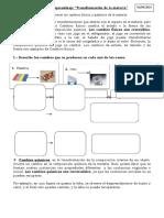 Guía de Aprendizaje Cambios Fisicos y Quimicos de La Materia 7º