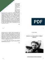 Cioran E M - Adios a La Filosofia Y Otros Textos