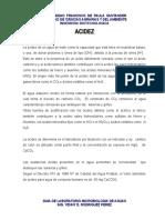 Acidez - Alcalinidad y Dureza
