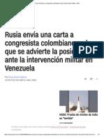 Carta de Rusia a Congresista Colombiano Sobre Intervención Militar _ CNN