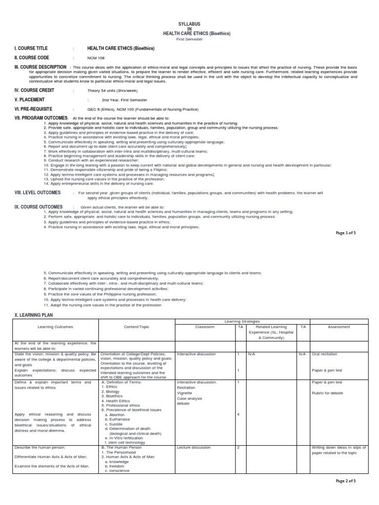 Ncm 108 Bioethics | Bioethics | Nursing